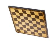 Wooden empty chessboard isolated Stock Photo