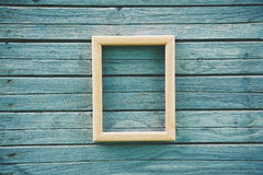Wooden empty frame on boards Stock Photography