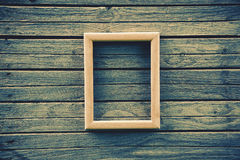 Wooden empty frame on boards Royalty Free Stock Images