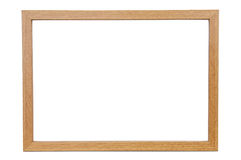Wooden empty photo frame on white background Royalty Free Stock Photo
