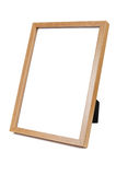 Wooden empty photo frame on white background Royalty Free Stock Photos