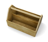 Wooden empty tool box on white background. 3d rendering Royalty Free Stock Image