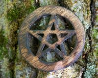 Wooden encircled pentagram symbol on fibrous tree bark. Five elements: Earth, Water, Air, Fire, Spirit. Wooden encircled pentagram symbol on fibrous tree bark royalty free stock photos