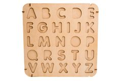 Wooden english letters isolated. On white background stock photography