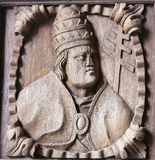 Wooden engraving of a bishop at the main door of Tui Cathedral, Stock Photography