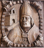 Wooden engraving of a bishop at the main door of Tui Cathedral, Royalty Free Stock Photos