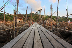 Wooden entrance bridge to the island of Koh Stock Photography