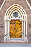 Wooden entrance door of church Stock Image