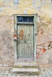 Wooden entrance of house number five Royalty Free Stock Photo
