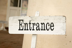 Wooden Entrance Sign Royalty Free Stock Photography