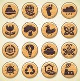 Wooden environment icons set Stock Photo