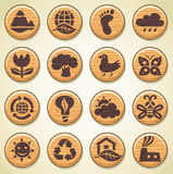 Wooden environment icons set 2 Royalty Free Stock Photography