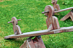 Wooden equipment on kinds playground Royalty Free Stock Images