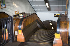 Wooden escalator in the Sint-Anna tunnel in Antwerp Stock Photography
