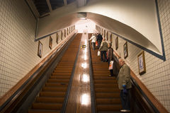 Wooden escalator in the Sint-Anna tunnel in Antwerp Royalty Free Stock Image