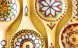 Wooden ethnic spoons. Stock Photos