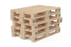 Wooden eur pallets. Isolated on white background Stock Photos