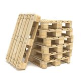 Wooden Euro pallets. 3D. Render illustration  on white background Stock Photography