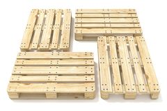 Wooden Euro pallets. Side view. 3D Stock Images