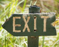 Wooden Exit Sign Royalty Free Stock Photo