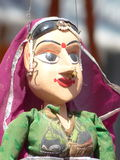 Wooden expression. Traditional Rajasthan wooden puppet for sale in Udaipur Stock Photography