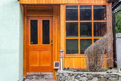 Wooden extension on weekend house from pine wood, polished Stock Images