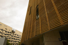 Wooden facade of a modern building Royalty Free Stock Images
