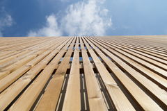 wooden facade modern perspective Stock Image