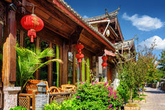 Wooden facade of traditional Chinese house in Lijiang, China Stock Photos
