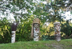 Wooden faces. Made from birch tree wood, Lithuania Royalty Free Stock Photography