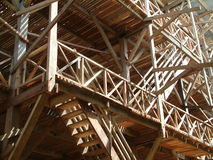 Wooden Factory. Rubber Air-Drying Building made of many strips of wood under construction at  Palembang, Indonesia. This building will be used to hang thousands Royalty Free Stock Images