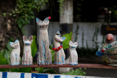 Wooden family cat.. Royalty Free Stock Images