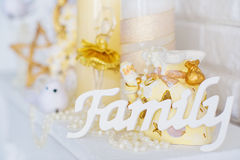 Wooden family letters Stock Photo