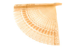 Wooden fan (isolated) stock photo