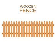 Wooden farm boards fence wood silhouette construction in flat style Royalty Free Stock Photography