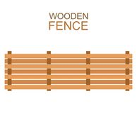 Wooden farm boards fence wood silhouette construction in flat style Royalty Free Stock Image