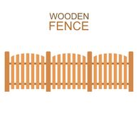 Wooden farm boards fence wood silhouette construction in flat style Stock Photo