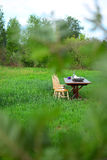 Wooden Farm Table Royalty Free Stock Images