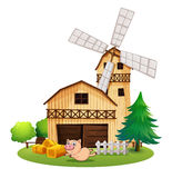 A wooden farmhouse with a playful pig Royalty Free Stock Photo
