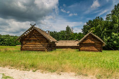 Wooden farmhouse in Pyrohiv in Ukraine Royalty Free Stock Images