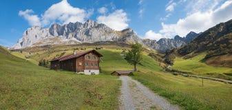 Wooden farmstead in idyllic landscape, switzerland Royalty Free Stock Photos
