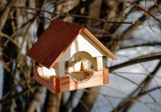 Wooden feeder for birds in winter. Wooden brown feeder for birds in winter in a sunny day Stock Photo