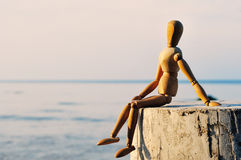 Wooden female figure Royalty Free Stock Image