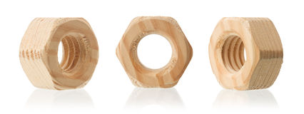 Wooden female screw nut with reflection Stock Images