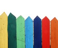 Wooden fence. Colorful wooden fence on sidewalk Stock Photos