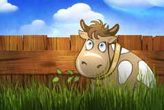 Wooden fence. Digital illustration of a rural wooden fence Stock Image
