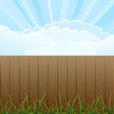 Wooden fence. And grass on sky background, illustration Royalty Free Stock Photo
