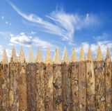 Wooden fence. Blue sky and wooden fence Royalty Free Stock Photo