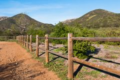 Wooden Fence Along Iron Mountain Trail. Wooden fence along the Iron Mountain Trail in Poway, California royalty free stock images