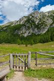 Wooden fence in alps Royalty Free Stock Photography